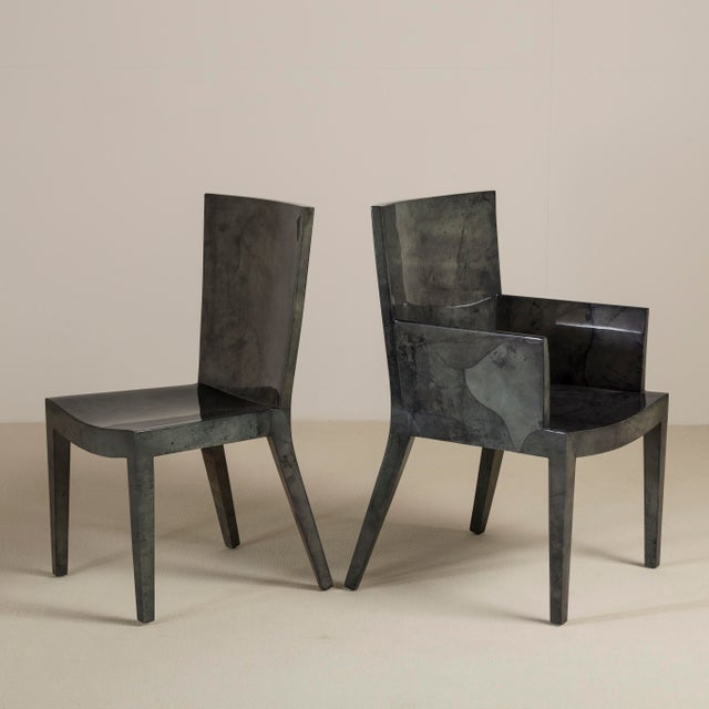A Set of Eight Grey Lacquered Goatskin Chairs 1980s, Pair Carvers, Six Side Chairs For Sale - Image 4 of 9