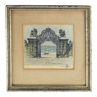 Snow Covered Palace Gate Etching For Sale