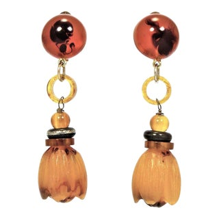 Giorgio Armani Amber Lucite and Resin Drop Earrings For Sale