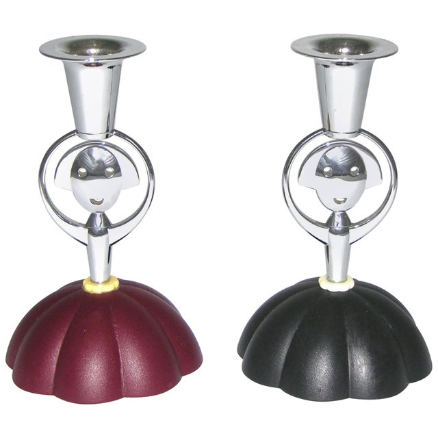 Metal Alessi Alessandro Mendini 1999 Italian Red and Blue Chrome Candlesticks - a Pair For Sale - Image 7 of 7