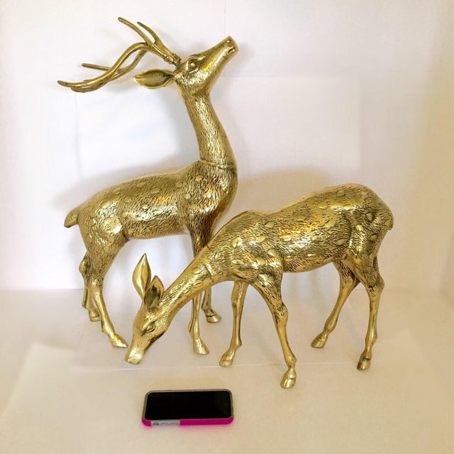 Large Vintage Brass Doe And Buck - Pair For Sale - Image 4 of 6