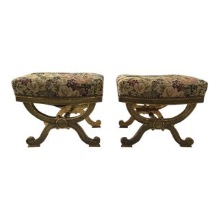 1890s Italian Classical Giltwood Benches - A Pair For Sale