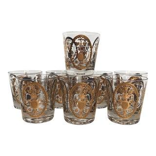 Vintage Gold Bar Glasses - Set of 8