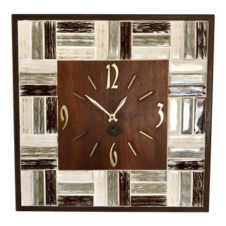 Mid Century Walnut Tile Wall Clock For Sale
