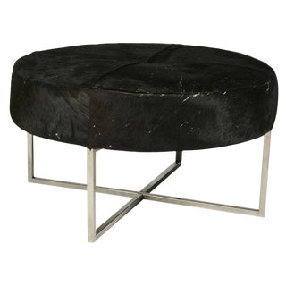 Mid-Century Modern Cow Hide Upholstered Round Bench For Sale