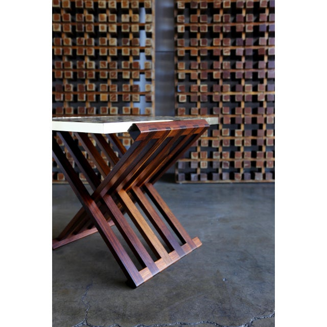 Mid 20th Century Edward Wormley X-Base Rosewood and Murano Tile-Top Table For Sale - Image 5 of 12