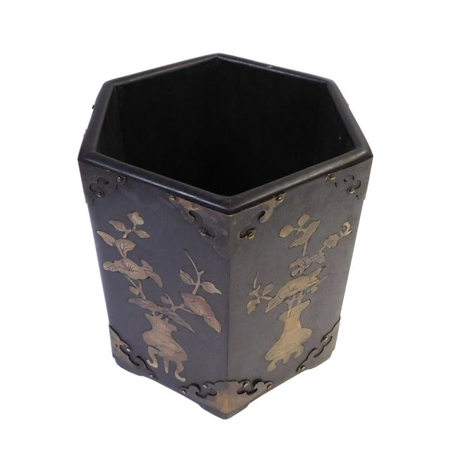 Chinese Mother-of-Pearl Hexagonal Brush Holder For Sale - Image 3 of 10