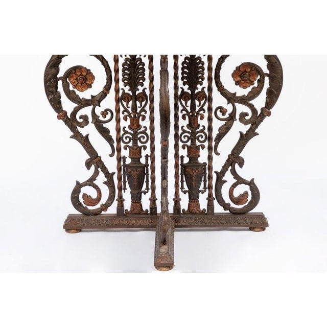 20th Century Italian Bronze and Iron Marble-Top Console For Sale In Los Angeles - Image 6 of 8