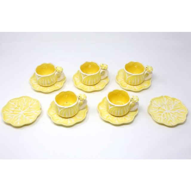 Boho Chic Vintage Hand-Painted Yellow and White Flower and Frog Espresso Cups and Saucers - Set of 12 For Sale - Image 3 of 13