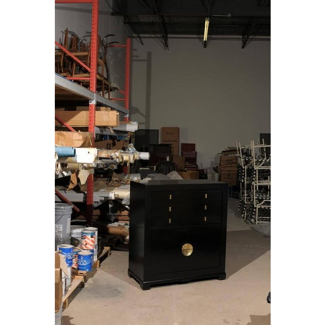 Gold Restored Modern Mahogany Commode by Albert of Shelbyville in Black Lacquer For Sale - Image 8 of 10
