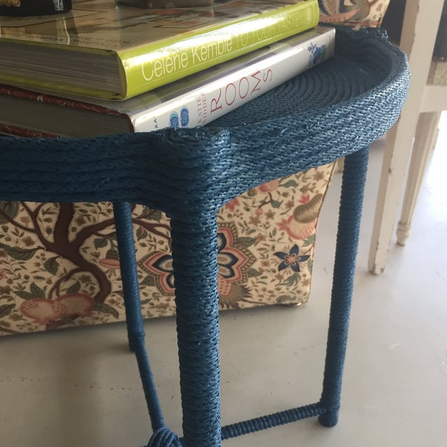 2010s Contemporary Prussian Blue Rope Side Table For Sale - Image 5 of 8