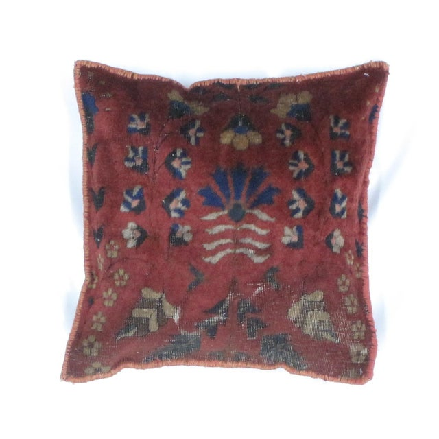Pillow with handmade antique Persian rug fragment. Polyfill, sewn closure, both sides.