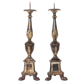 19th Century Italian Altar Candlesticks-a Pair For Sale