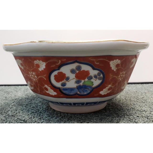 Japanese Vintage 1970s Japanese Takahashi Imari Style Porcelain Octagonal Bowl For Sale - Image 3 of 8