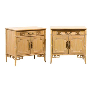 Unusual Pair of Cerused Faux Bamboo Chests by Ray Sabota For Sale