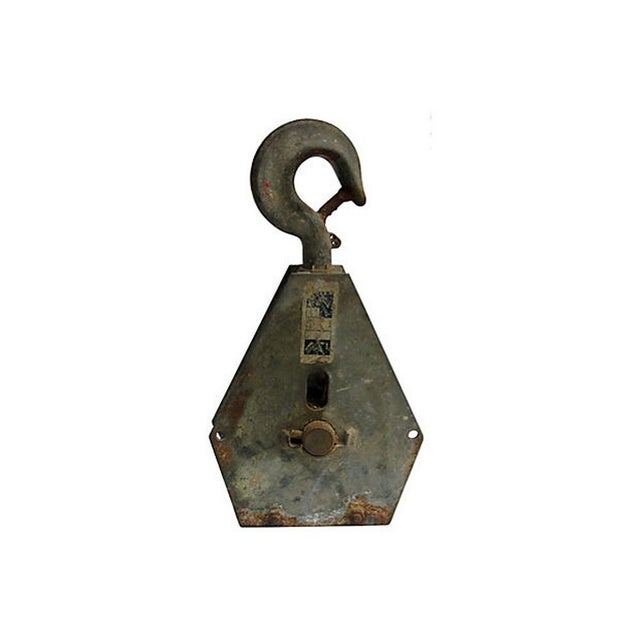 Boho Chic French Industrial Pulley Accent Piece For Sale - Image 3 of 7