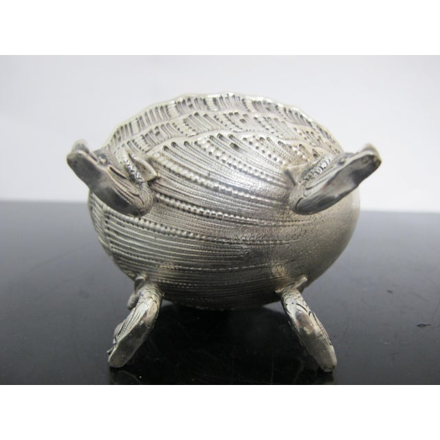 Antique German 800 Silver Figural Horn Player Dolphin Foot Salt Cellar Bowl For Sale - Image 4 of 8