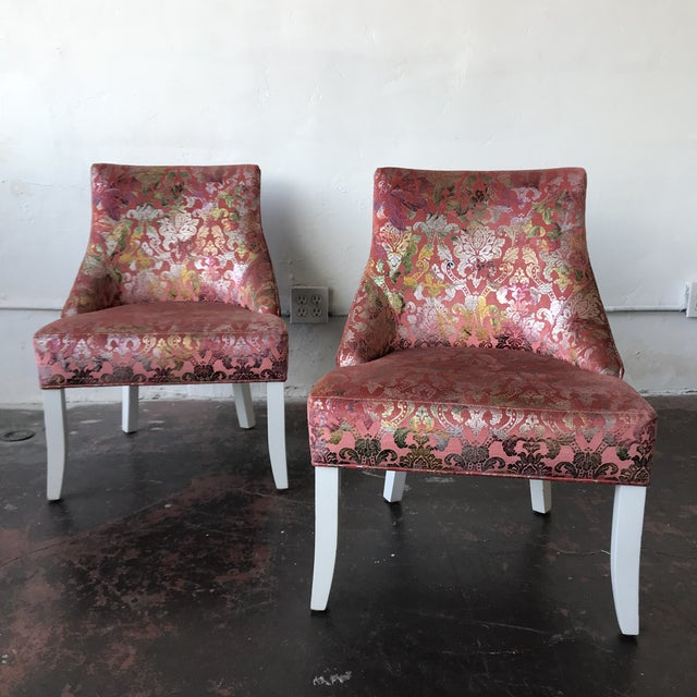 Pink Vintage Pink & Rainbow Upholstered Vanity Chairs - a Pair For Sale - Image 8 of 8