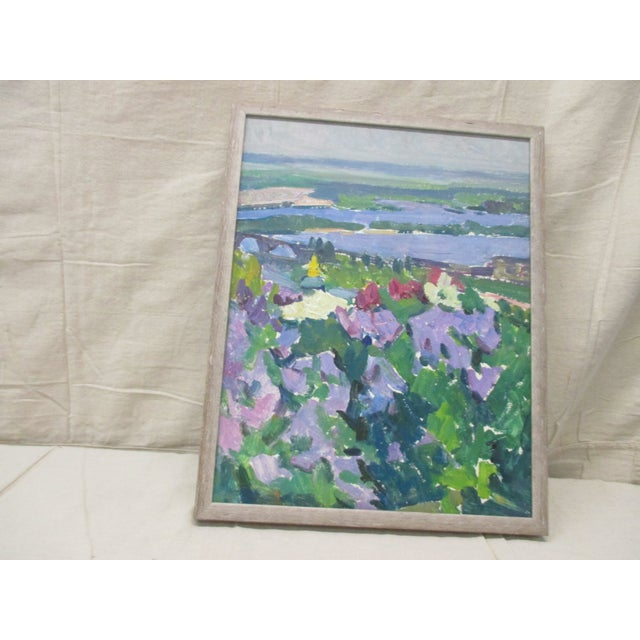 Large Oil on Canvas Painting of Nature With Islands in the Background For Sale In Miami - Image 6 of 6