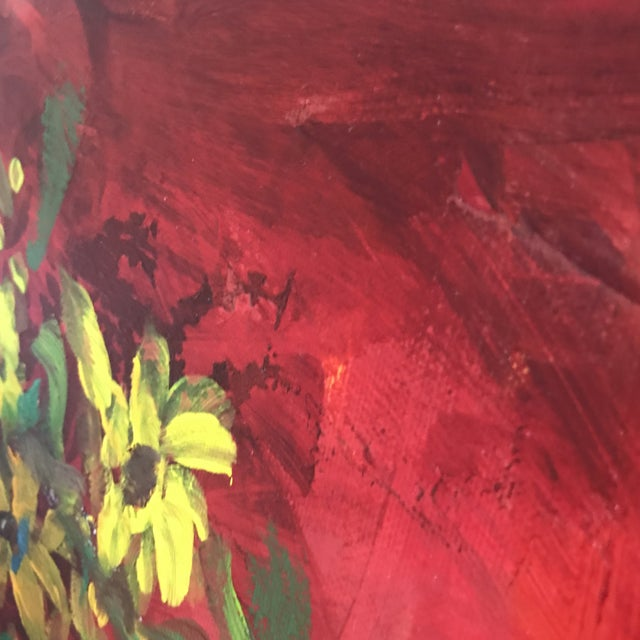 Acrylic Sunflowers on Red Contemporary Painting For Sale - Image 7 of 9