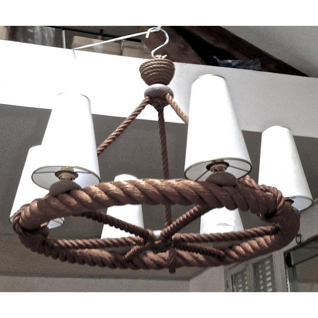 Brown Audoux Minet French Riviera 6 Light Rope Chandelier in Good Vintage Condition For Sale - Image 8 of 9