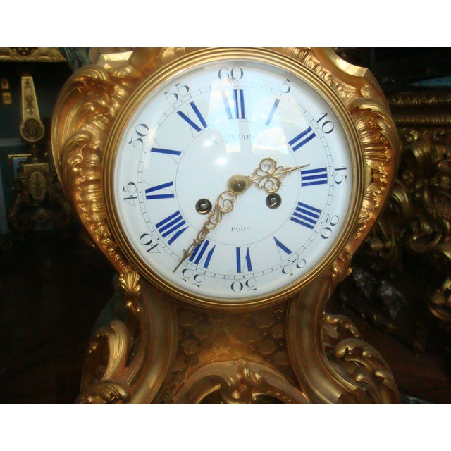 Mid 19th Century Antique f.f. F. Barbedienne Louis XV Mantle Clock For Sale - Image 10 of 13
