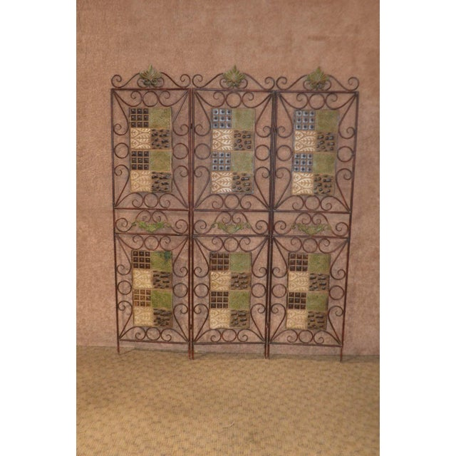 1980s Vintage 3-Panel Folding Screen For Sale - Image 12 of 13