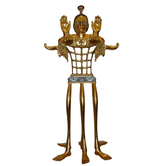"5-foot Tall Gilt Candelabrum by Pedro Friedeberg ""Venus of Galveston"" For Sale"