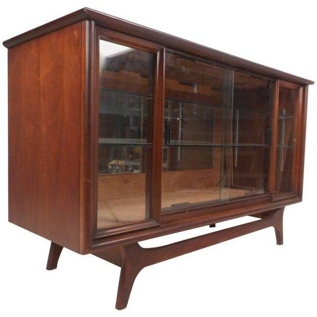 Compact Mid-century Modern Sliding Door Display Cabinet