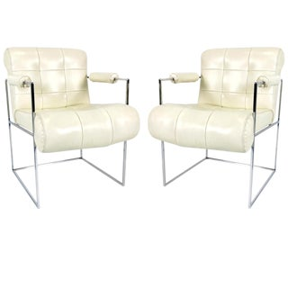 Pair of Chrome Thin Line Lounge Chairs by Milo Baughman For Sale