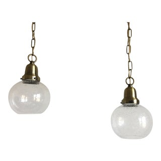 Swedish Glass Pendant Lights - a Pair For Sale