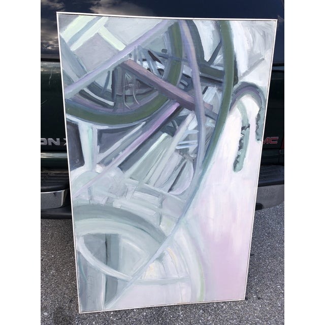 1970s Vintage Abstract Large Bicycle Signed Painting For Sale - Image 11 of 12