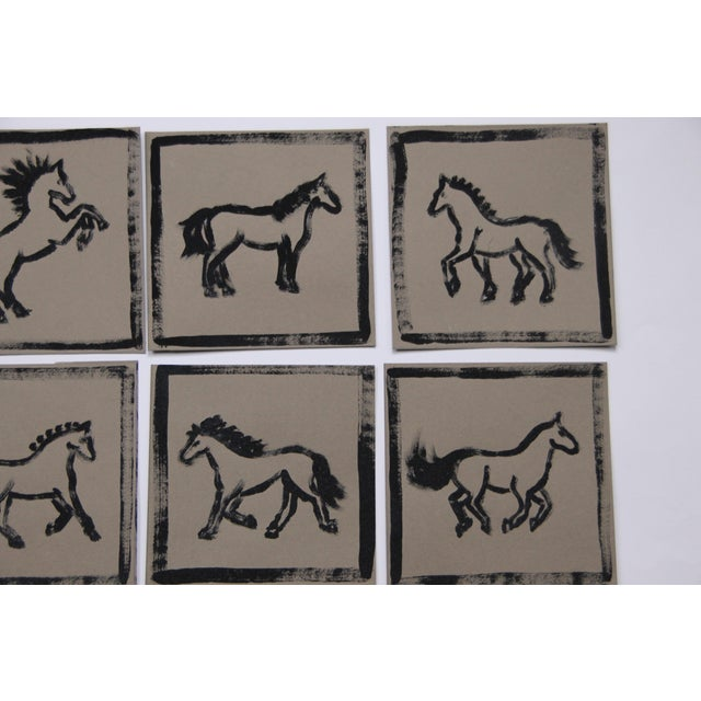 Cleo Plowden Minimalist Set of 9 Horse Paintings by Cleo Plowden For Sale - Image 4 of 8