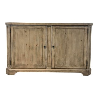 Rustic Distressed Pine Finished Wood Sideboard For Sale