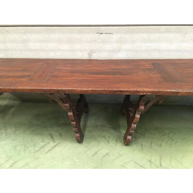 Early 19th Century French Baroque Style Walnut Trestle Dining Farm Table For Sale - Image 9 of 11
