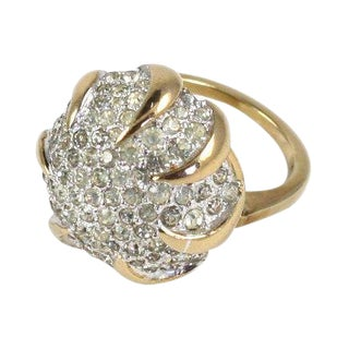 Panetta Sterling Vermeil Rhinestone Ring For Sale