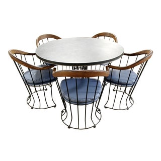 Mid Century Modern Woodard Patio Dining Slate Table & Curved Chairs 1960s - Set of 5 For Sale