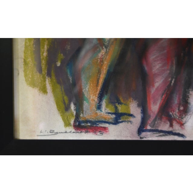 Abstract Authentic Hans Burkhardt Original Pastel 'Two Nudes' 1963 For Sale - Image 3 of 4