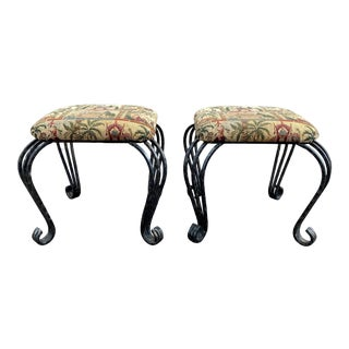 1950s French Iron Cabriole Legged Upholstered Stool - a Pair For Sale