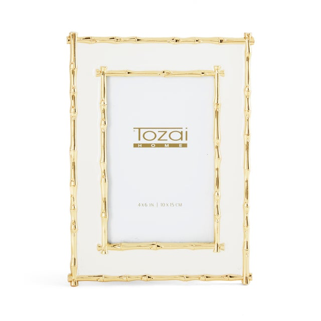 Metal Tozai Home Bamboo White Enamel Picture Frame For Sale - Image 7 of 7