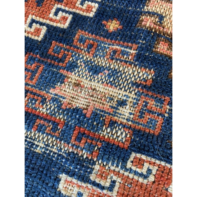 "Vintage Cobalt Blue Hand Knotted Geometric Rug- 34""x 47"" For Sale - Image 4 of 7"