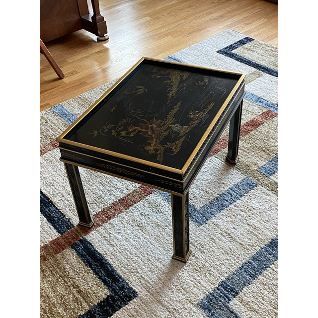 Chinoiserie Drexel Heritage Black Lacquer Side Table For Sale - Image 11 of 11