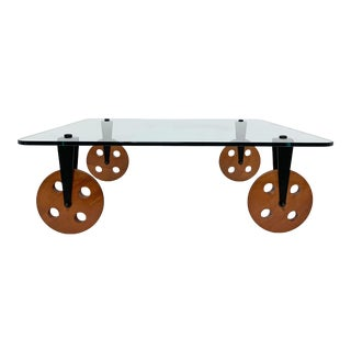 Gae Aulenti Style Trolley Wheeled Coffee Table, Circa 1980s For Sale