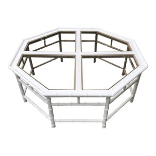 1970s Chippendale White Faux Bamboo Octagonal Coffee Table