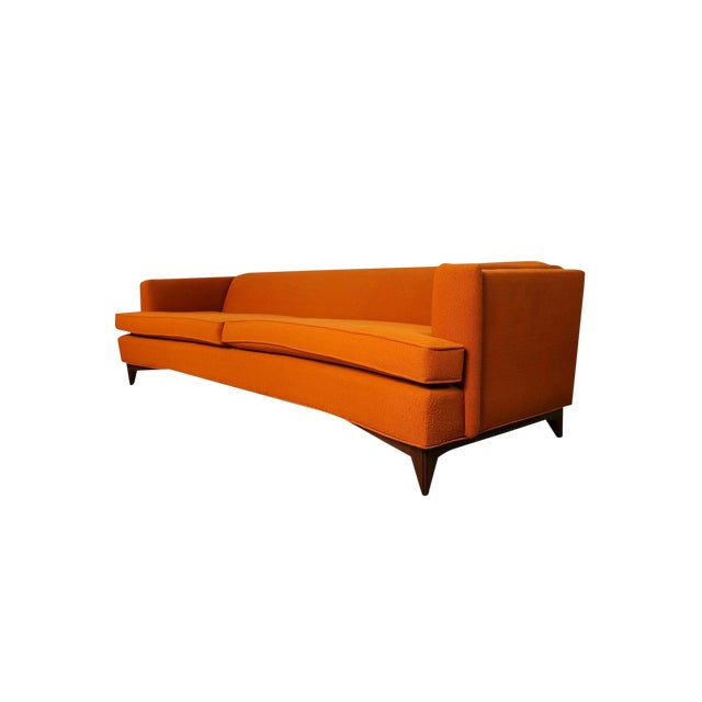 Mid Century Modern Orange Upholstered Curved Sofa