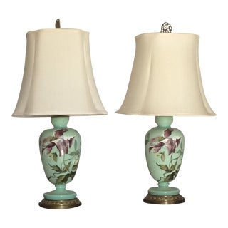 1930s Hand Painted Porcelain Lamps - a Pair For Sale