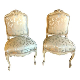 Pair of Maison Jansen Slipper Chairs in Scalamandre Upholstery in Fine Frames For Sale