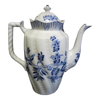 Mid 20th Century China Tall Coffee Pot With Blue Onion Flower Design For Sale