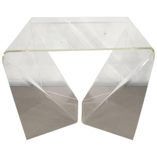 "Rare Neal Small ""Origami"" Table in Clear Lucite For Sale"