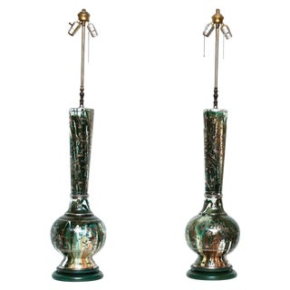 1950s Tall Indo-Persian Lamps - a Pair For Sale